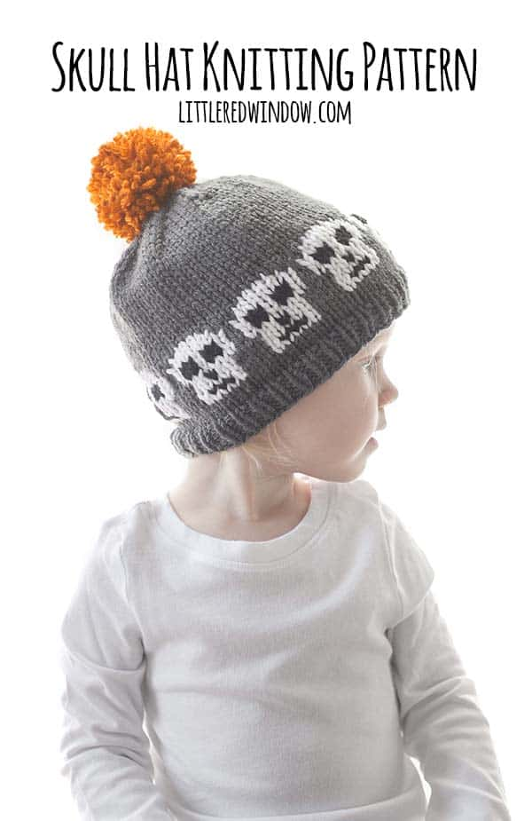 Spooky Skull Hat Knitting Pattern with instructions for all sizes from newborn to baby to toddler! This cute hat is a quick and easy knit and perfect for Halloween!