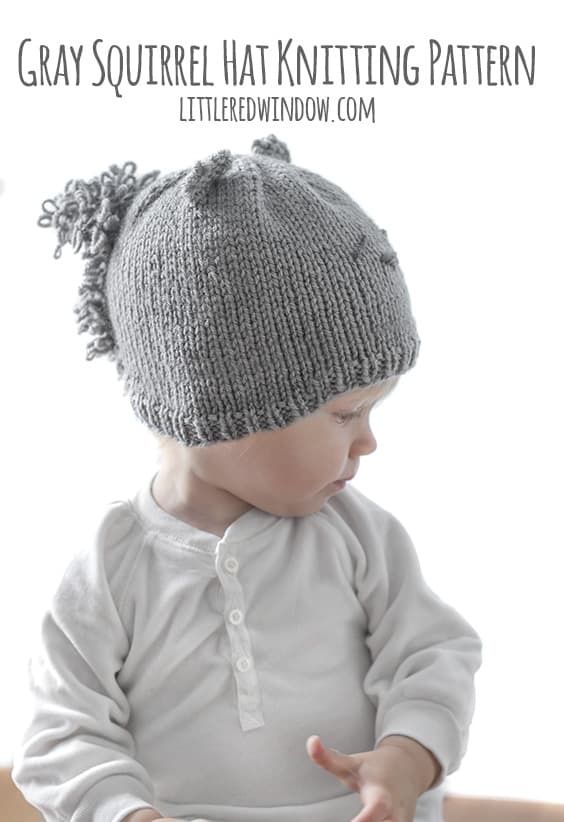 Gray Squirrel Hat Knitting Pattern for newborns, babies and toddlers! | littleredwindow.com