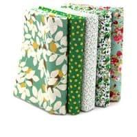 RayLineDo 5X Different Pattern Green 100% Cotton Poplin Fabric Fat Quarter Bundle 46 x 56cm ( Appox 18