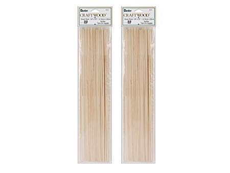 2 Pack of 22 Darice 9162-01 1/8-Inch Unfinished Natural Wood Craft Dowel Rod Bundled by Maven Gifts