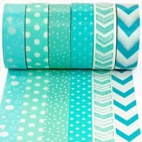Crafty Rabbit Dots and Arrows Washi Tape - Set of 6 Rolls - 196 Feet Total - Turquoise