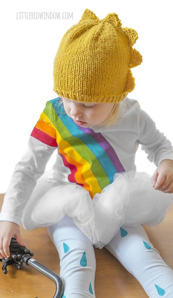 Golden Sun Hat knitting pattern, a fun, charming, bright pattern for your little sunshine, in newborn, baby and toddler sizes!