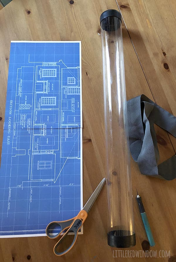 Easy Architect Costume for Kids, make a fun blueprint drawing tube that holds your HALLOWEEN CANDY!