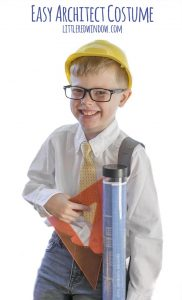 "Put together this Easy Architect Costume for Halloween, it even has a ""blueprint"" drawing tube that holds candy!!"