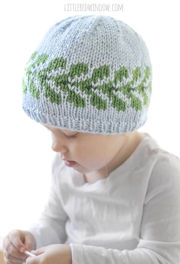 Vine Hat knitting pattern, a gorgeous pattern of green leaves around the brim, perfect to knit for your baby or toddler!