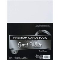 Darice GX-2200-06 Core'dinations 50-Piece Card Stock Paper, 8.5 by 11-Inch, Great White