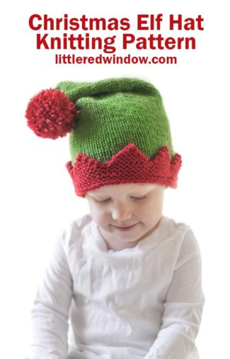 Adorable Christmas Elf Hat knitting pattern, your baby or toddler will be ready to help Santa this year with this cute Christmas Elf Hat!