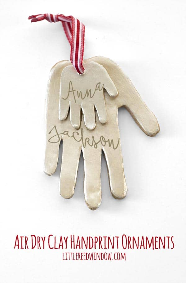 DIY Air Dry Clay Handprint Ornaments, make these adorable handprint ornaments with your kids this Christmas!