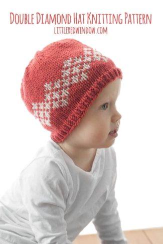 Double Diamond Hat Knitting Pattern for newborns, babies and toddlers! | littleredwindow.com