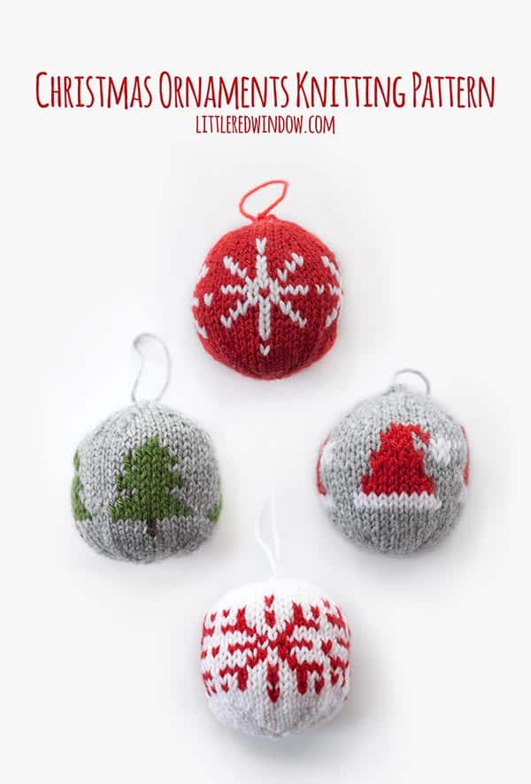 Knit Christmas Ornament Knitting Pattern, includes instructions for North Star, Christmas Tree, Santa Hat and Snowflake ornaments!