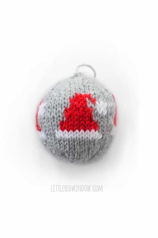 Knit Christmas Ornament Knitting Pattern - Santa Hat motif!