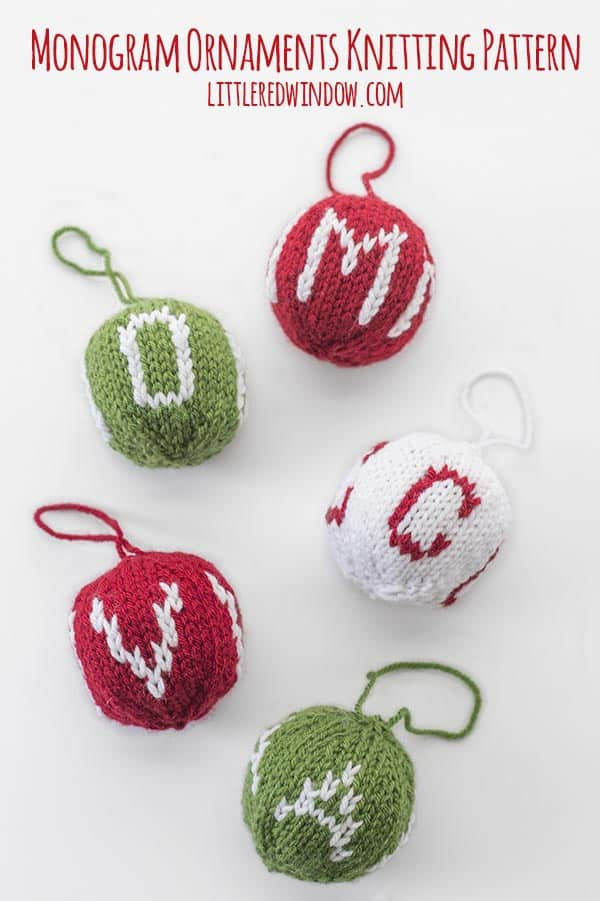 Knit Monogram Ornament knitting pattern, this adorable pattern makes a great gift and includes instructions for letters A to Z and number 1 - 9!