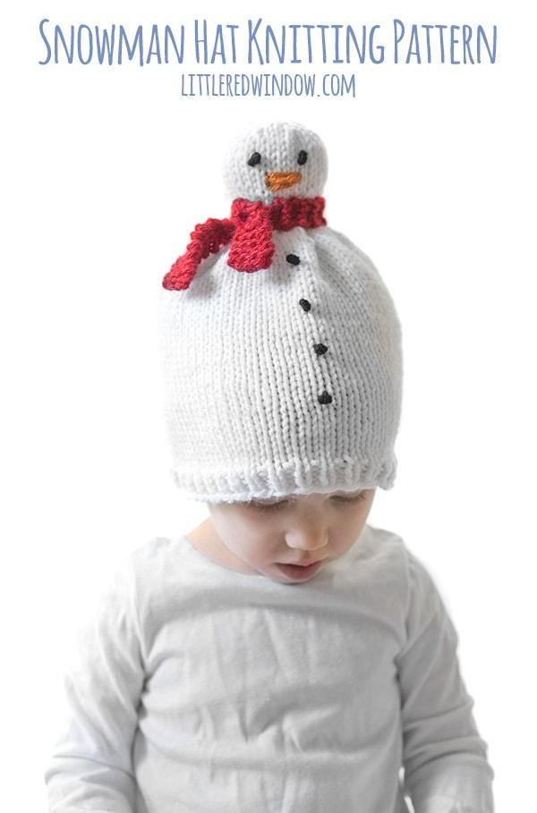 Snowman Hat Knitting Pattern 01b littleredwindow