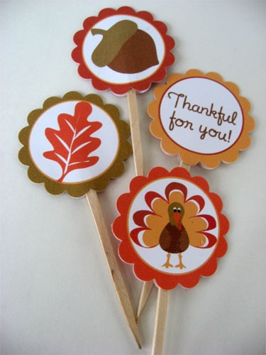 Thanksgiving Cupcake Toppers from Skip to My Lou