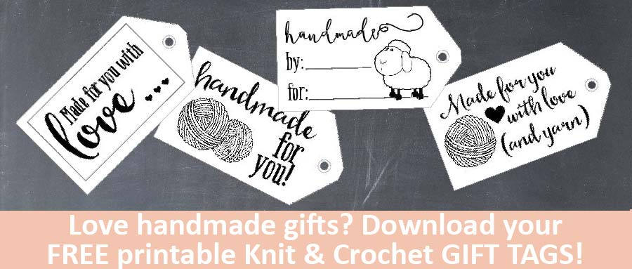 Download your own copy of these adorable FREE printable Knit & Crochet Gift Tags for all of your handmade gifts!