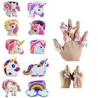 Fineder 20 PCS Unicorn Ring, Unicorn Rubber Ring Unicorn Party Supplies Party Favors