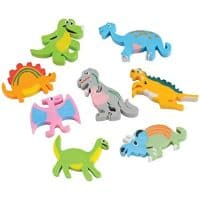 U.S. Toy Lot of 12 Assorted Dinosaur Design Erasers