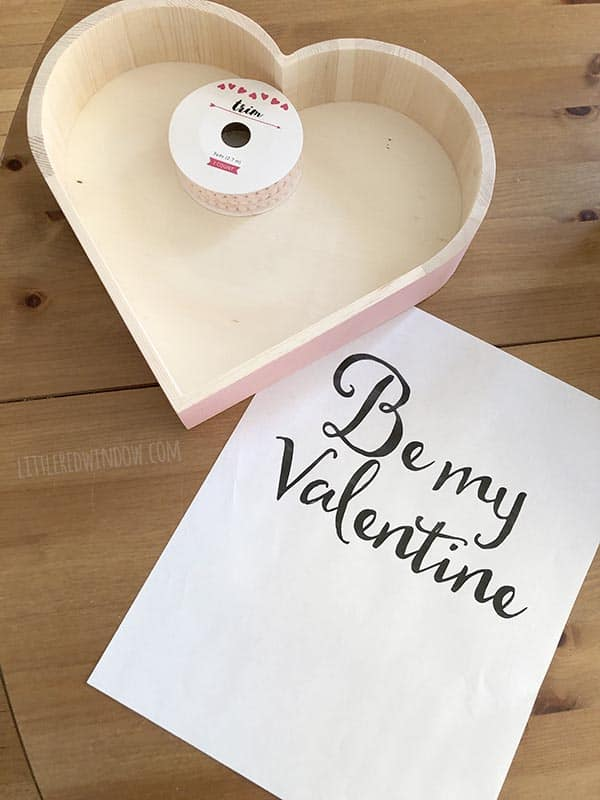 Supplies needed to make a DIY Valentine Pom Pom Tray!
