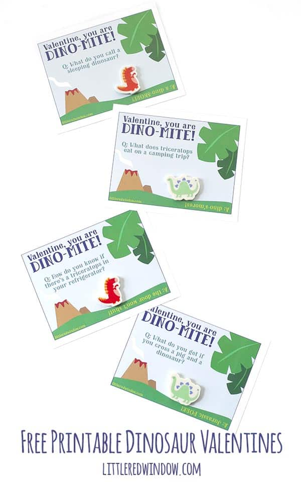 Free Printable Dinosaur Valentines with jokes, perfect for elementary school!