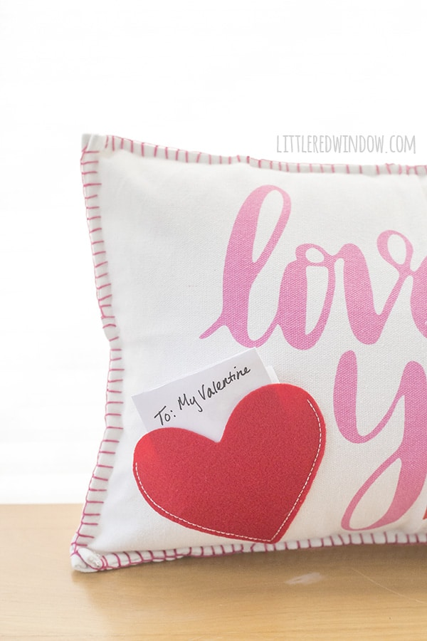 Closeup of cute Valentine's Day placemat pillow!