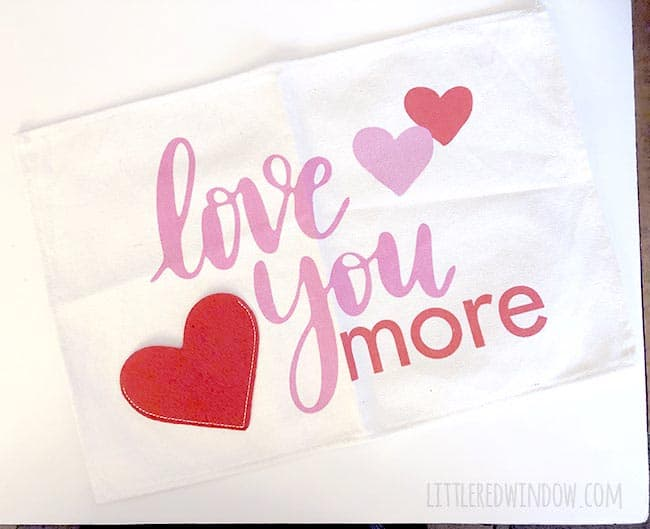Use this adorable placemat to make a cute Valentine's Day pillow!