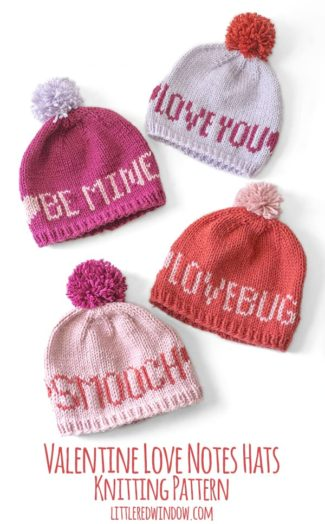 Valentine Love Notes Hats Knitting Pattern