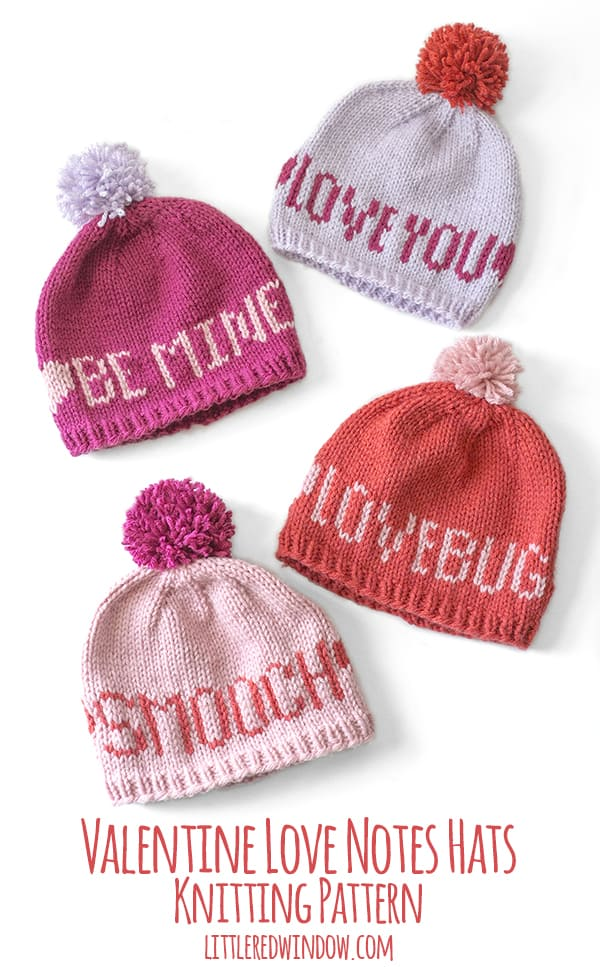 Valentine Love Notes Hat, 4 different messages