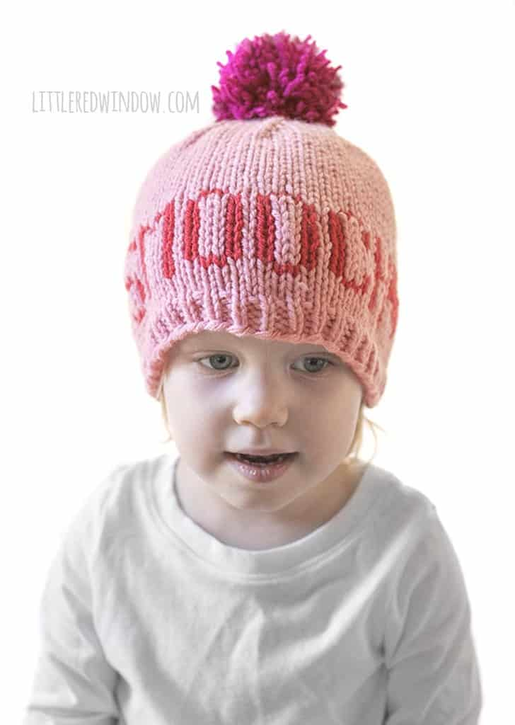 "Cute baby hat with the word ""Smooch"" on the front!"