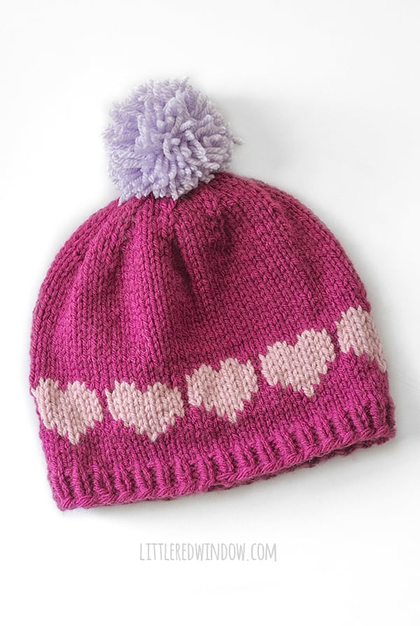 Heart pattern on back of Be Mine Valentine Love Notes Hat knitting pattern!