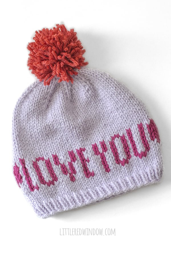 Love You Valentine Love Note Hat knitting Pattern!
