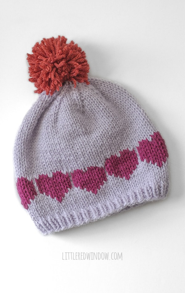 Heart pattern on the back of the Love You Valentine Love Note knitting pattern!