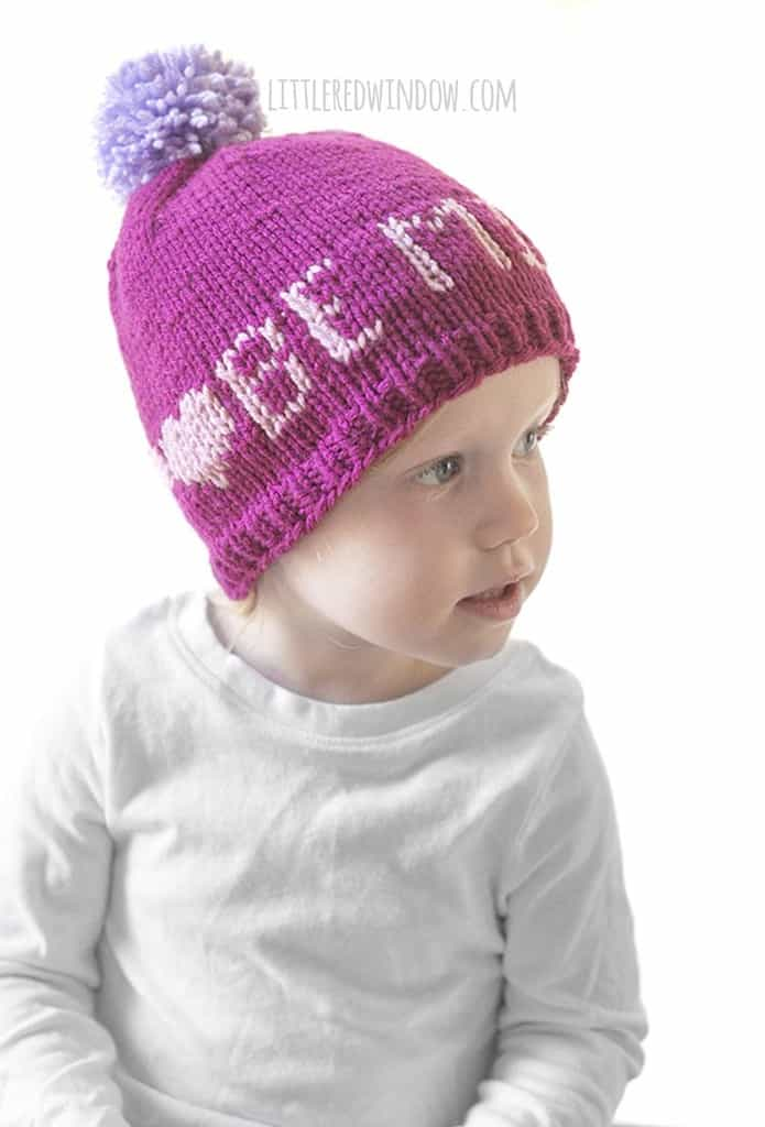"Cute Valentine's Day baby hat knitting pattern that says ""Be Mine"""