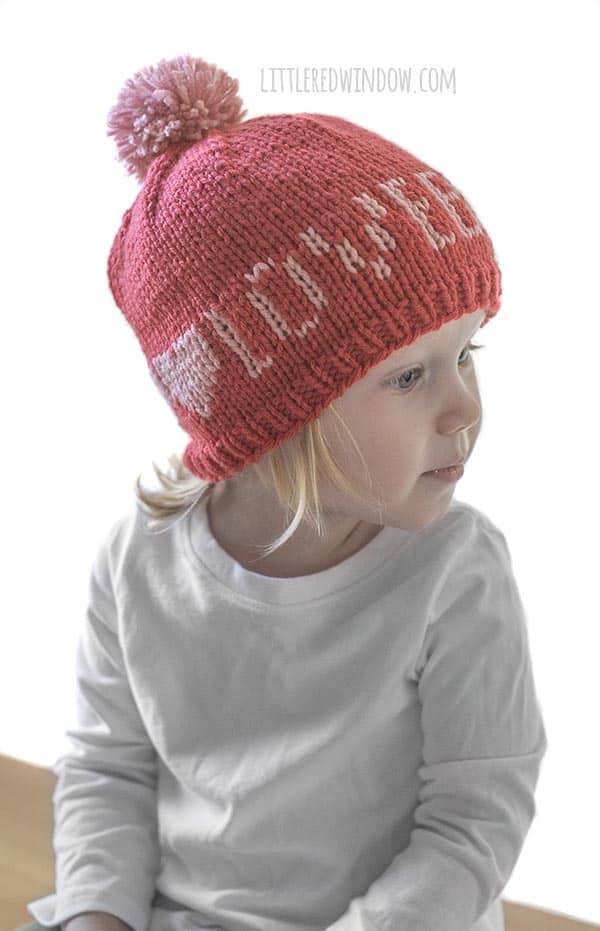 Cute Baby wearing Valentine Love Note Hats knitting pattern!