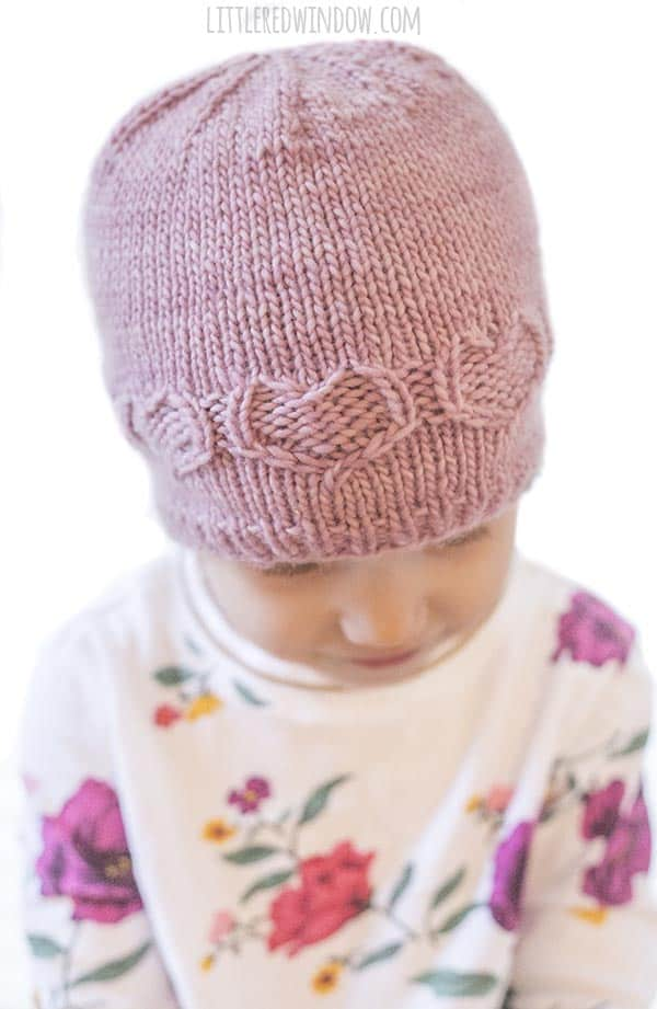 Closeup of the Valentine Sweetheart Hat knitting pattern!