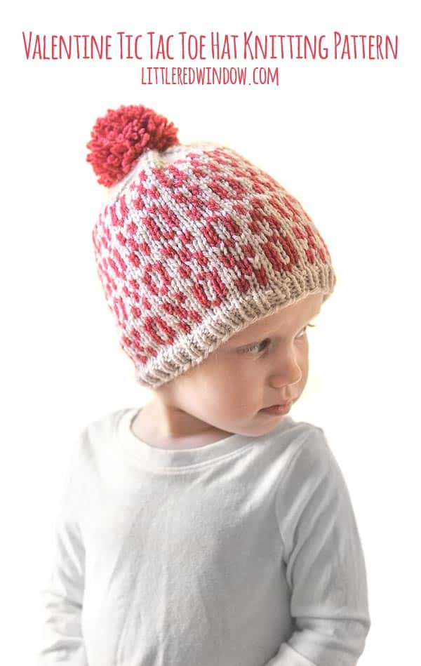 Baby wearing Valentine Tic Tac Toe Hat knitting pattern!