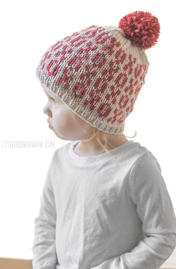 Valentine Tic Tac Toe Hat knitting pattern, a cute all-over pattern of X's and O's with instructions for sizes from newborn to toddler!