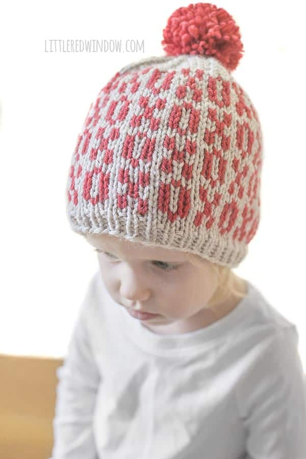 Side View of Valentine Tic Tac Toe Hat knitting pattern!