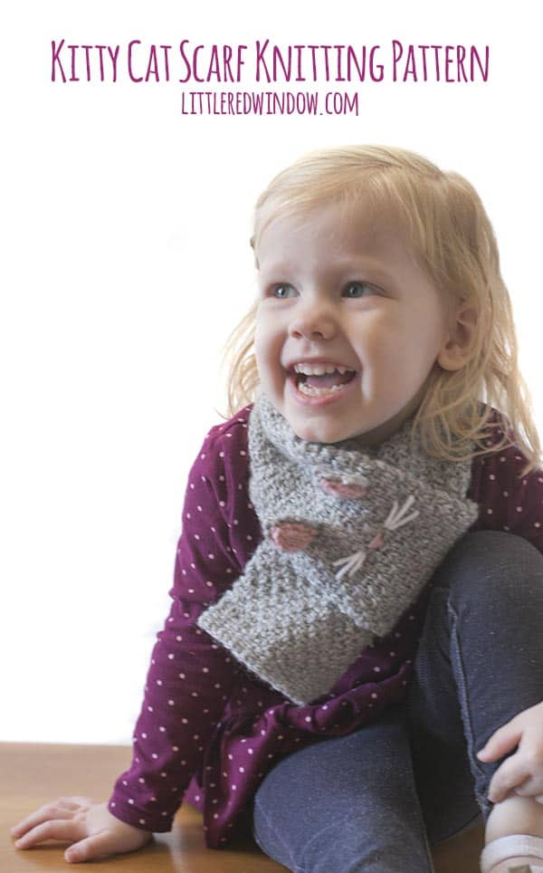 Your little kitten with love the Kitty Cat Scarf knitting pattern!