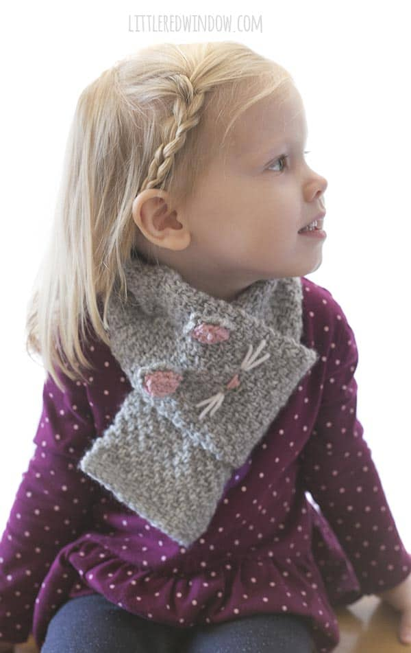 The Kitty Cat Scarf knitting pattern makes a great gift!