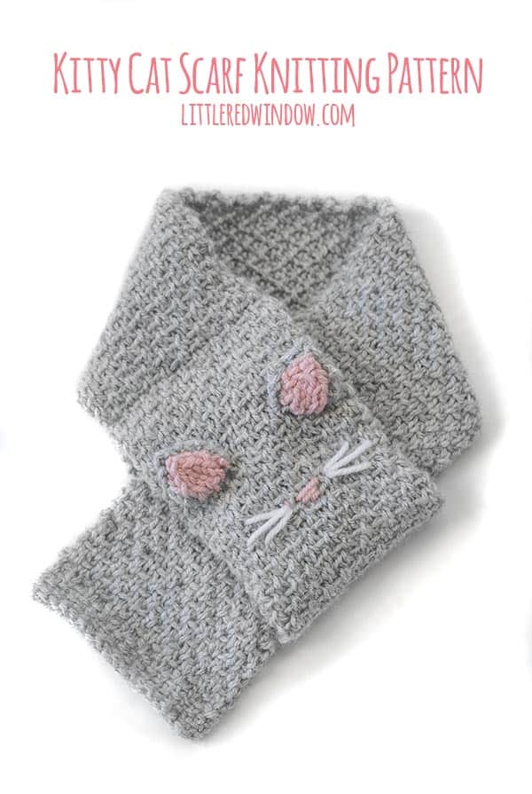The Kitty Cat Scarf knitting pattern includes a loop at one end so this scarf is super easy for kids to put on!