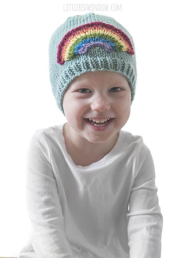 There's not much cuter than a toddler wearing the Little Rainbow Hat knitting pattern!