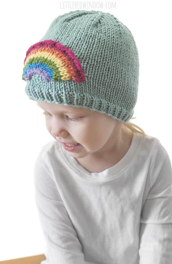 The Rainbow applique on the Little Rainbow Hat knitting pattern is so easy to knit!