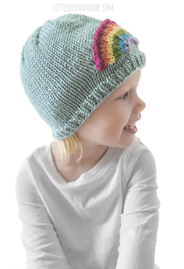 The adorable Little Rainbow Hat knitting pattern looks cute from the side too!