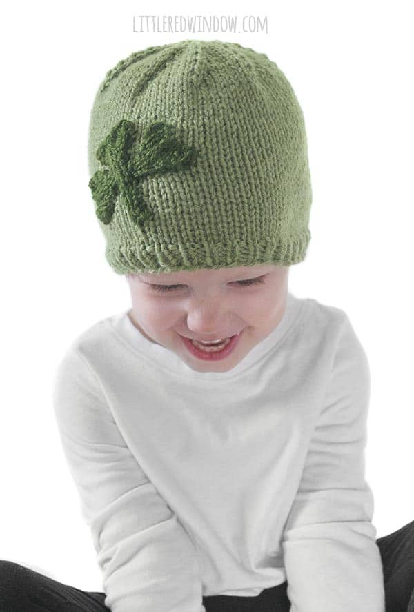 The Little Shamrock Hat knitting pattern has a cute and easy to knit shamrock applique!
