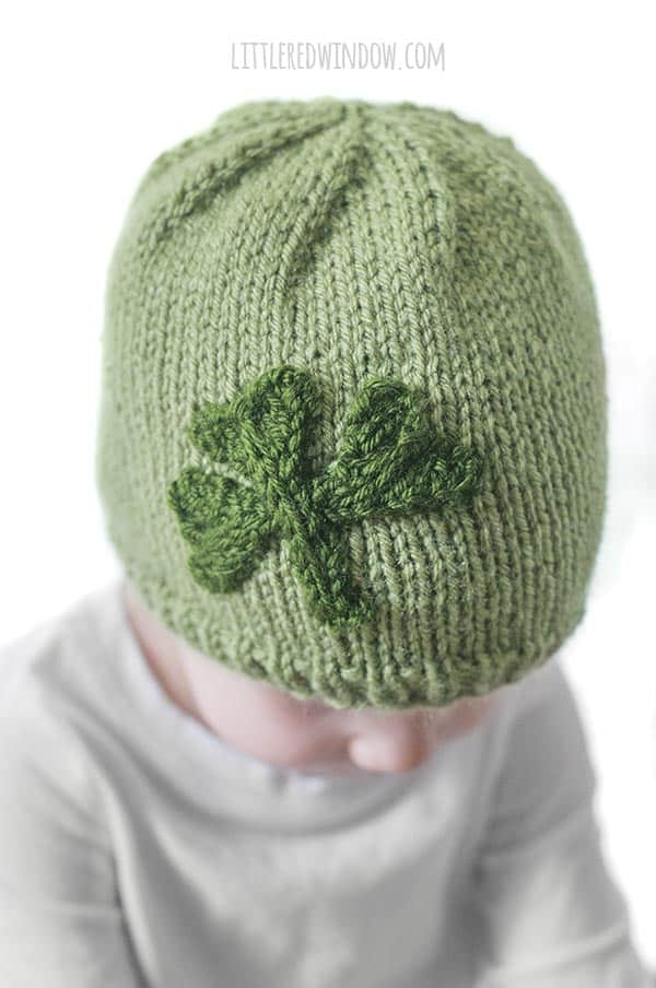 Closeup of the cute Little Shamrock Hat knitting pattern for babies and toddlers!