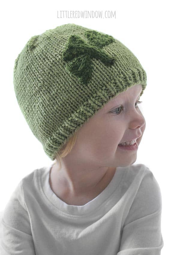 This little one loves her Little Shamrock Hat knitting pattern!