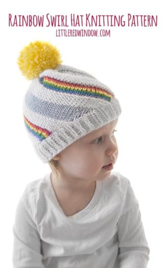 The Rainbow Swirl Hat knitting pattern has alternating swirling stripes of blue sky, white clouds and colorful rainbows!