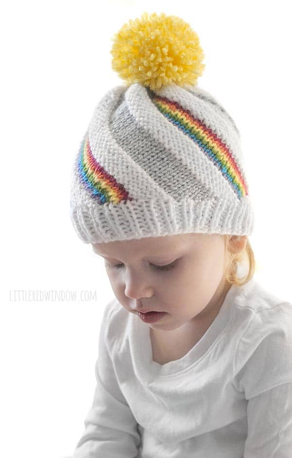 735fec3a56d The Rainbow Swirl Hat knitting pattern is super fun to knit and looks so  cute on