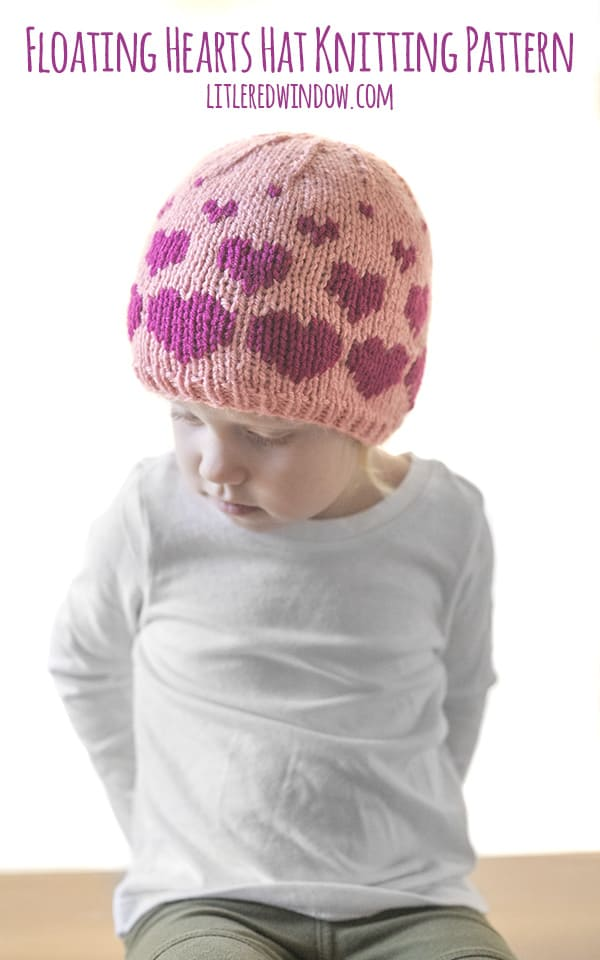 Valentine Floating Hearts Hat knitting pattern, knit this in any size from newborn to toddler, it's perfect for Valentine's Day or any day!