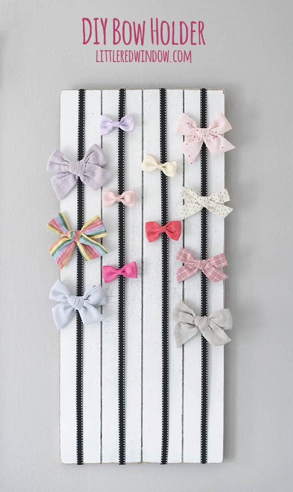 Make an Easy DIY Bow Holder to organize hair bows and barrettes!